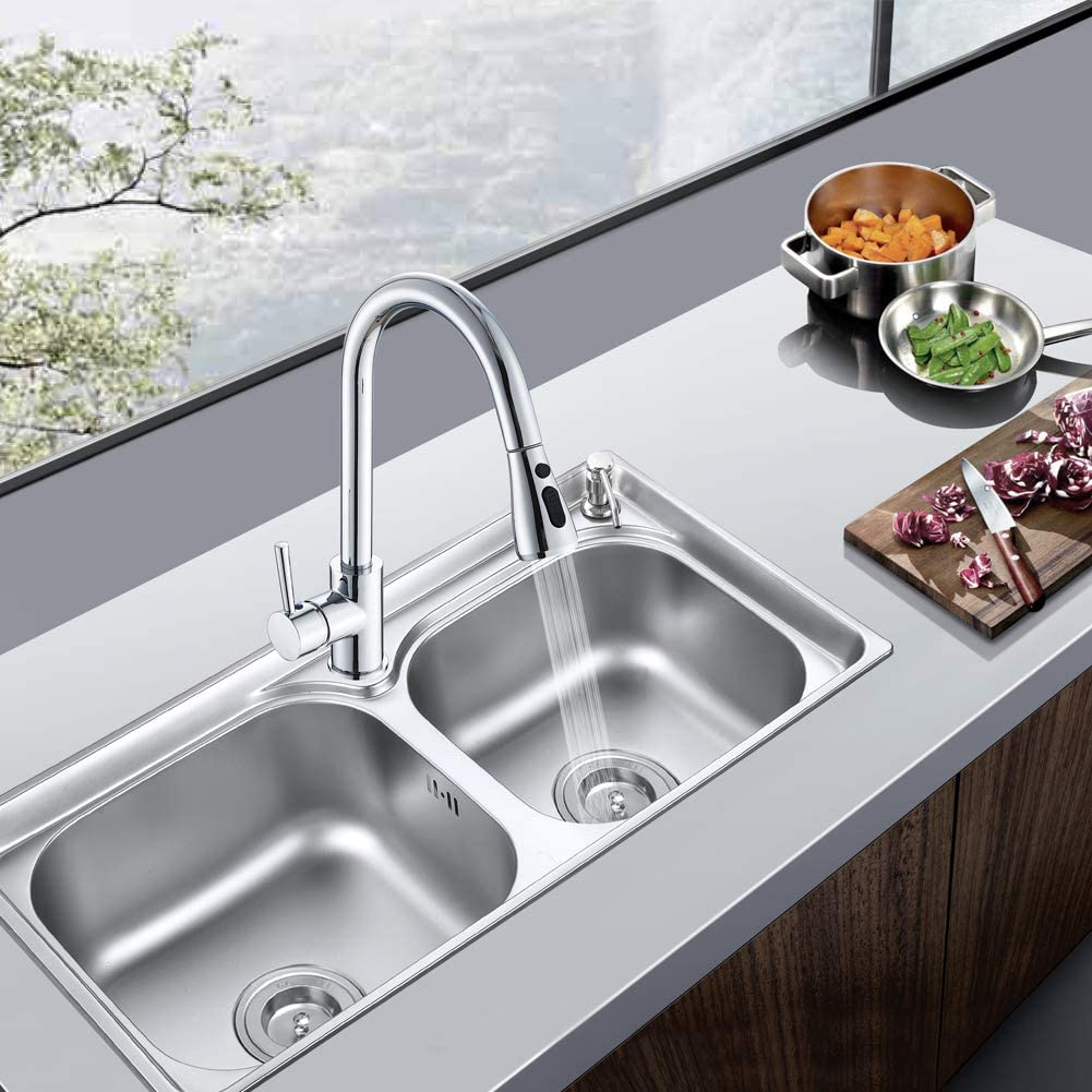 Chrome Modern Single Lever Swivel Spout Kitchen Basin Tap Inchant Kitchen Sink Mixer Taps with Pull Out Spray
