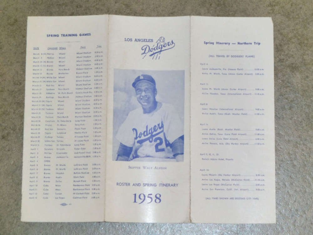 1958 LOS ANGELES DODGERS Guide Roster Allan Roth Copy