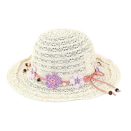 Kid Girl Lace Flower Summer Sun Straw Hat Cute Bowknot Beach Beanie Knitted  Cap (S c39657d2fab1