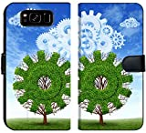 Liili Premium Samsung Galaxy S8 Flip Micro Fabric Wallet Case Cloud computing growth and the future of virtual storage and internet based remote desktop illustrated by t
