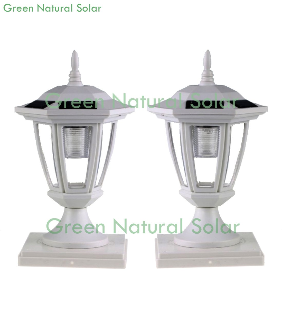 6-Pack WHITE Solar Hexagon Post Cap Lights with WHITE LEDS for 4X4 Hollow PVC/Vinyl/Plastic -GREEN NATURAL SOLAR