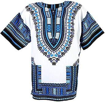 Camisas africanas Dashiki para hombres y mujeres africanas de manga corta Dashiki estampado tradicional africano ropa de verano Azul Y Blanco 54: Amazon.es: Ropa y accesorios