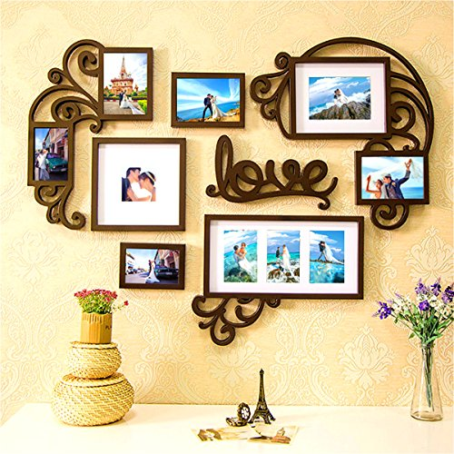 - F&A=R Picture Frame Set Wall Art Decoration Sticker in Family Living Room and Bedroom (Love Heart)