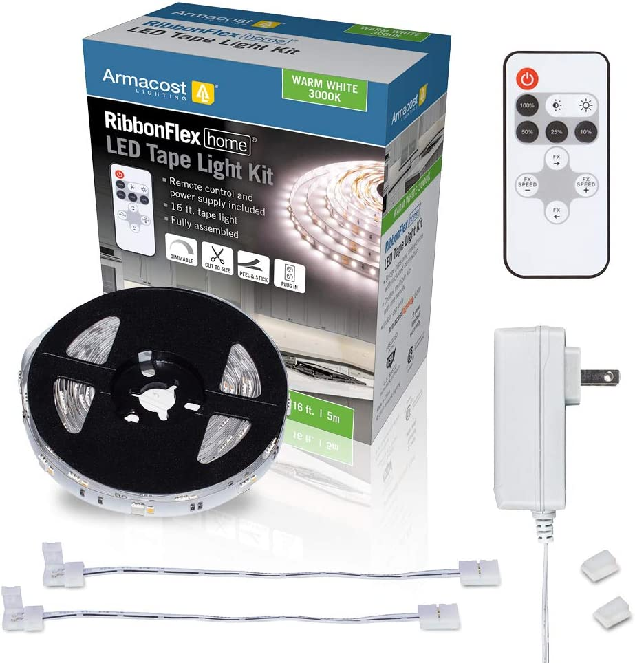 Armacost Lighting 421500 Ribbon Flex Home Warm White LED Tape Light Kit with Remote, 16 ft, 3000k