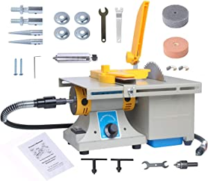 Jewelry Polishing Buffer Machine Bench Lathe Rock Polisher Adjustable Mini Multi Purpose Home for Gem Metal Woodworking Carving Upgraded 110V 350W TM-2