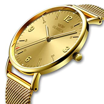 OLMECA Mens Watches Luxury Wristwatches Waterproof Fashion Quartz Watches Quartz Movement -Simple and Clean Dial