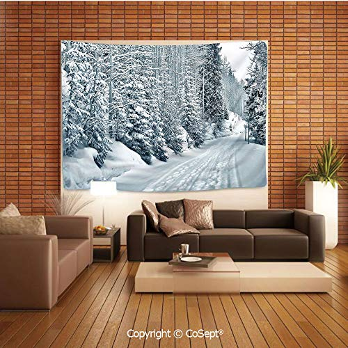 PUTIEN Polyester Fabric Tapestry,Ski Themed Snowy Road Cold Parts of The World Footprints Colorado United States Decorative,Tapestry Art Print Tapestry for Room