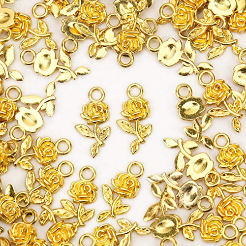 JETEHO 100 pcs Alloy Rose Flower Charms Pendants for Bracelet Necklace Jewelry Findings (Gold)