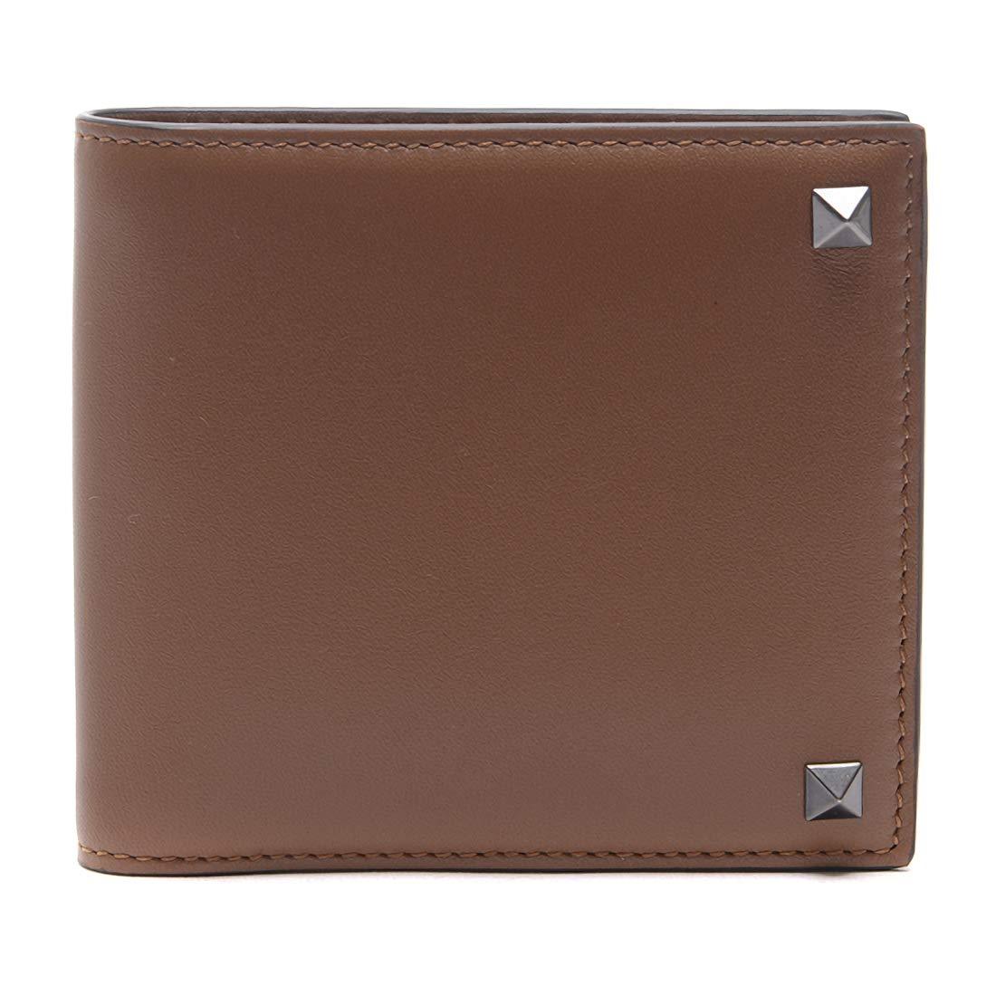 [ヴァレンティノ] [VALENTINO] メンズ ロックスタッズ 二つ折り財布 ブラウン [並行輸入品] B07GNS3J1X  One Size
