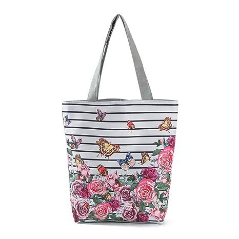 Doitsa capazo Mujer Diseño de Flores niña Étudiante Mode Loisirs Bolsa de Curso Bolsas de Playa Bolsa de la Compra – Rayure + Flor