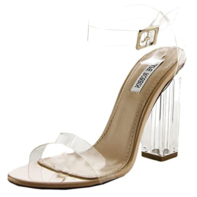 933f01b0cc Amazon.com | Cape Robbin Maria-2 Women's Lucite Clear Strappy Block Chunky High  Heel Open Peep Toe Sandal | Heeled Sandals