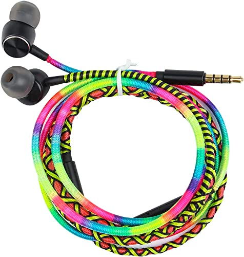 URIZONS Earbuds, in Ear Headphones with Microphone, Sports Headset for iPhone iPad iPod Mac Laptop Tablets Android Smartphones Handmade Fabric Braided Tribe Thread Wrapped Bracelet Style Rainbow