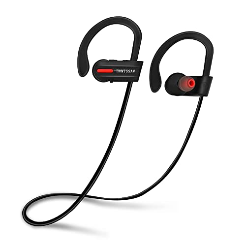 HOMTSSAW Bluetooth Headphones Wireless In Ear Earbuds-IPX7 Waterproof Sports Cordless 4.1 Earphones with Built in Mic & CVC 6.0 Noise Cancelling Technology for iPhones & Android Smartphones Black