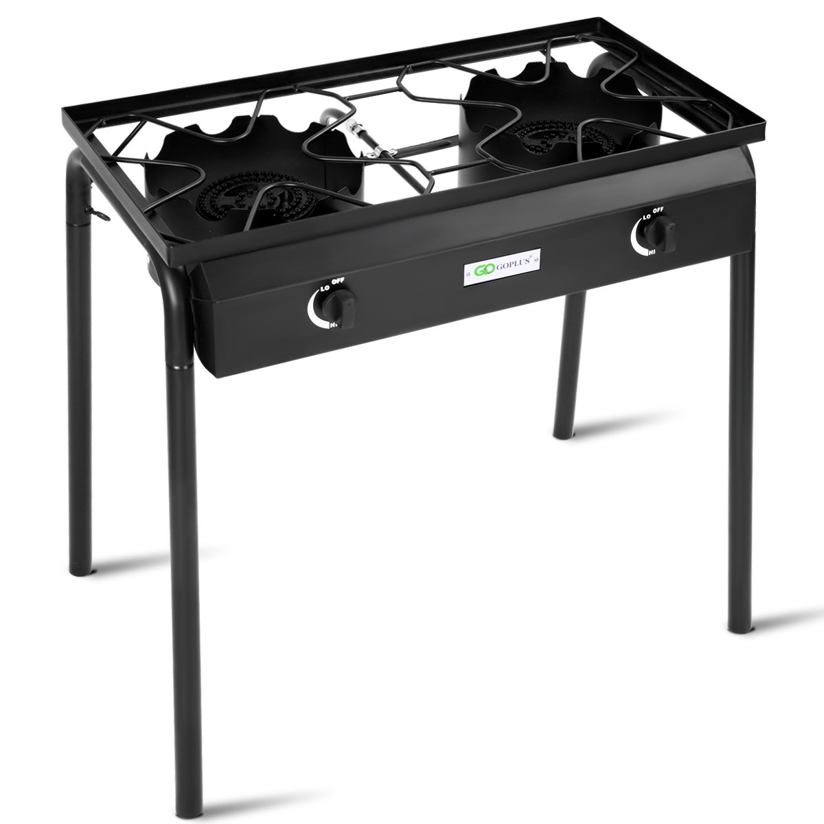 Goplus Outdoor Camp Stove Propane Gas Cooker Portable Cast Iron Patio Cooking Burner w/Detachable Legs (2-Burner 150,000-BTU)
