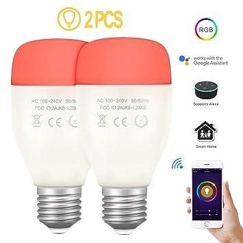 Konesky Bombilla LED Inteligente WiFi RGBW Color Que Cambia Las Luces del Escenario Regulable Timmer Night Light Decoración de Navidad Bombilla E27 Trabaja ...
