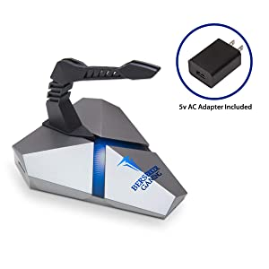 LOKI Gaming Mouse Bungee Stand - RGB LED Lights - 4 Port USB 3.0 Hub with Active Power - Micro SD Card Reader Slot - PC; Mac; Linux