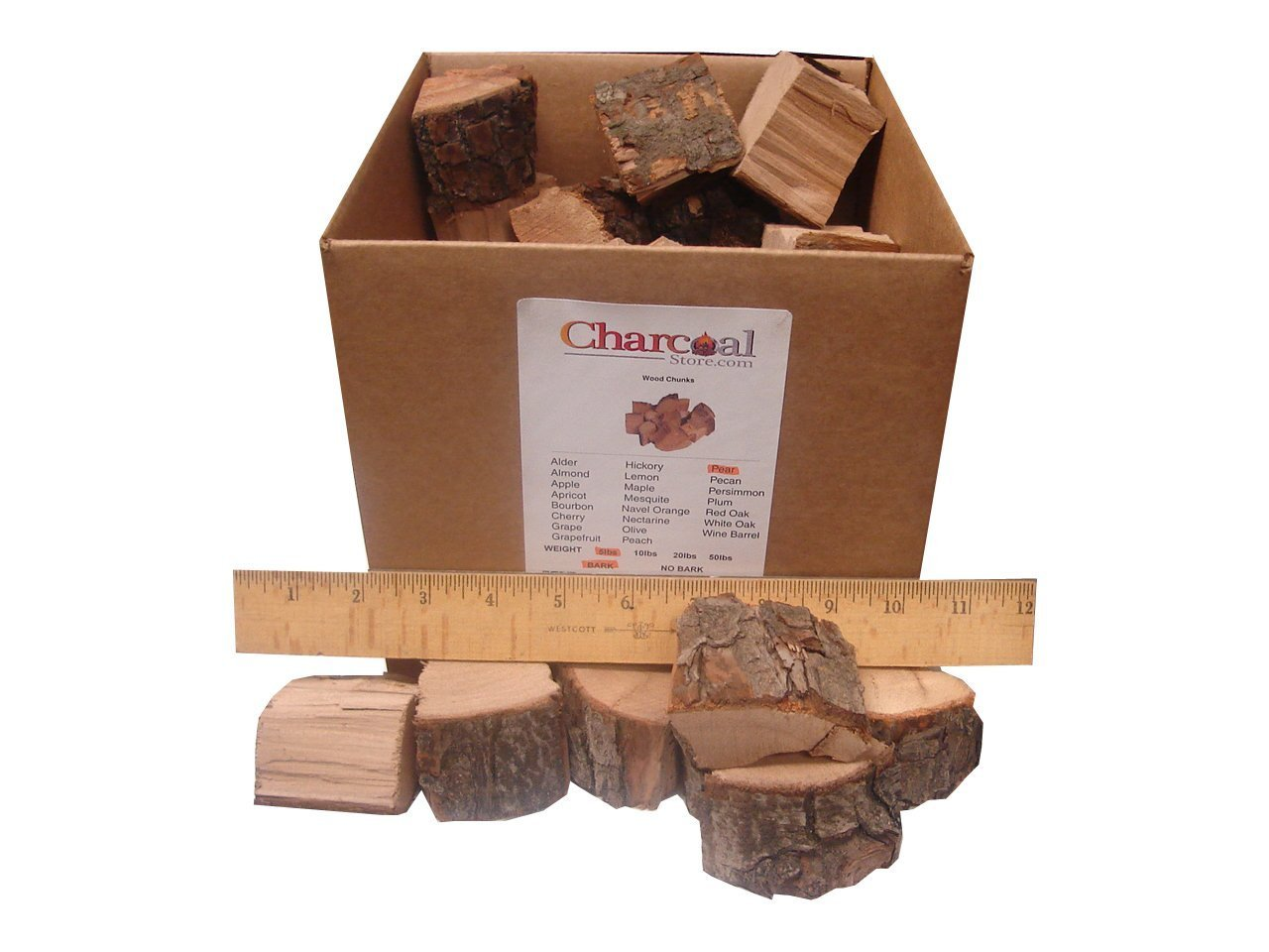 CharcoalStore Olive Wood Smoking Chunks - Bark (10 Pounds) by CharcoalStore
