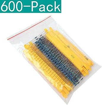 Youmile 600-Pack 30 Valores 14W 0.25W 1% Resistencias de película de Metal Conjunto de Kit Surtido (1ohm-10Mohm): Amazon.es: Electrónica