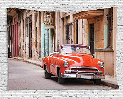 Ambesonne Cars Tapestry, Classical American Car in a Street with Ancient Houses Caribbeans Havana Cuba, Wall Hanging for Bedroom Living Room Dorm, 80 W X 60 L Inches, Brown Orange