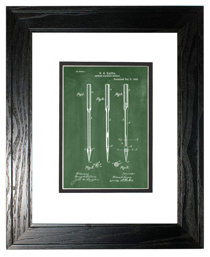 Sewing Machine Needle Patent Art Green Chalkboard Print in a Black Pine Wood Frame with a Double Mat (13'' x 19'') M15828 by Frame a Patent (Image #1)