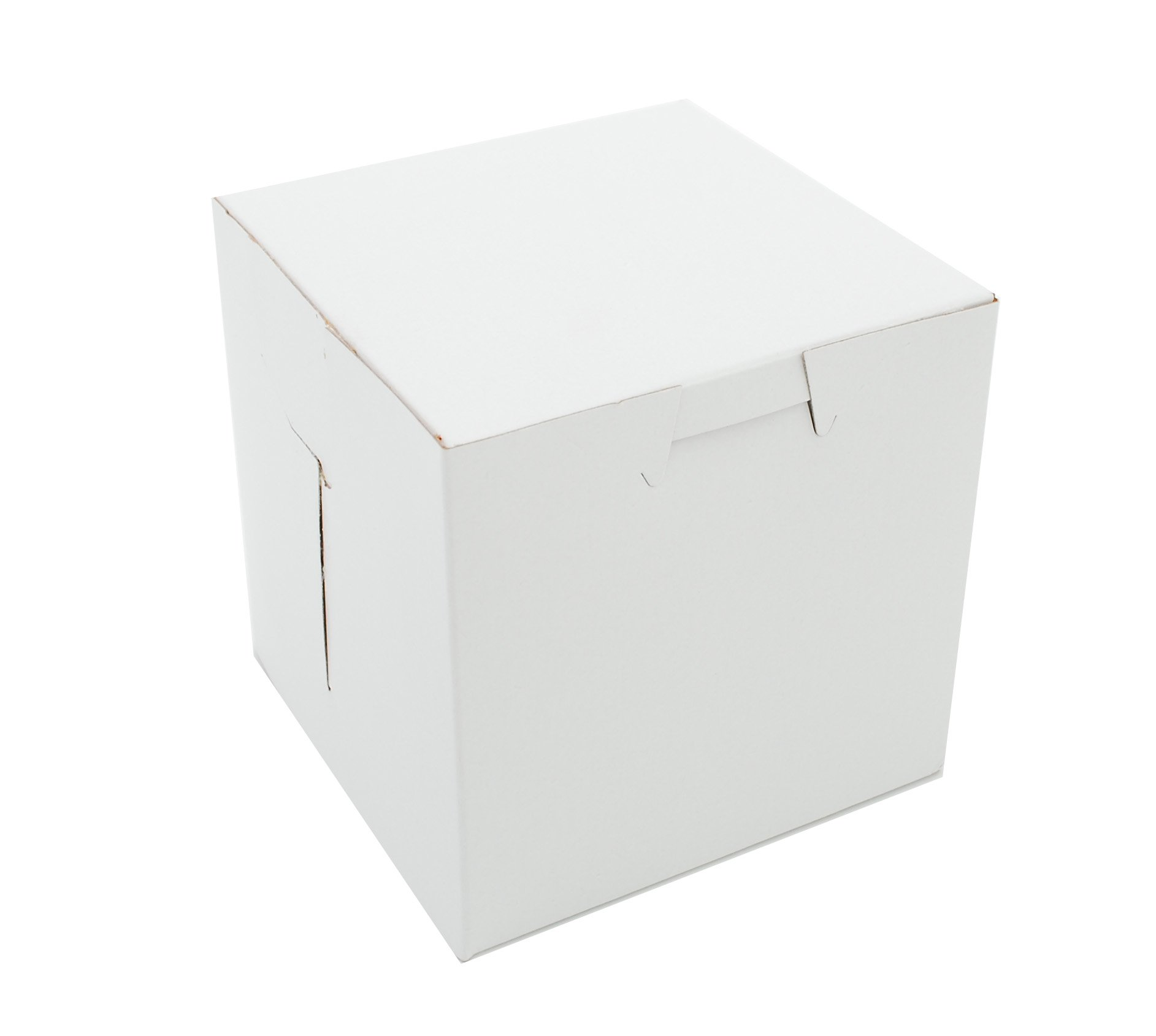 Southern Champion Tray 0907 Premium Clay Coated Kraft Paperboard White Non-Window Lock Corner Bakery Box, 4'' Length x 4'' Width x 4'' Height (Case of 200)