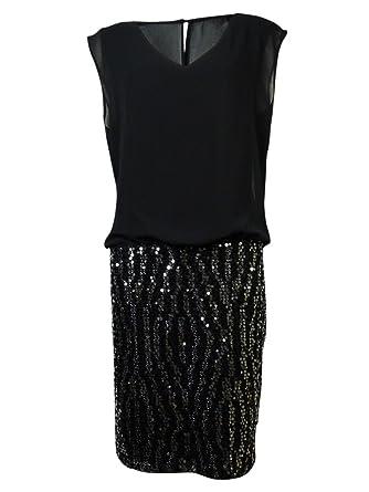abb22d5270231 Amazon.com  Guess LA Women s Adela Sequined Blouson Dress (2, Black ...