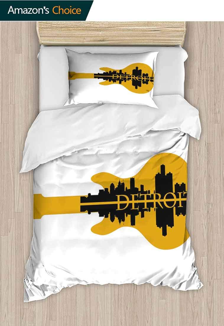 Detroit Decor Custom Made Quilt Cover and Pillowcase Set, High Rise Buildings Silhouette Reflection Electric Guitar Instrument Music, 3D Print 100% Polyester Fiber Quilt Cover & Pillowcases