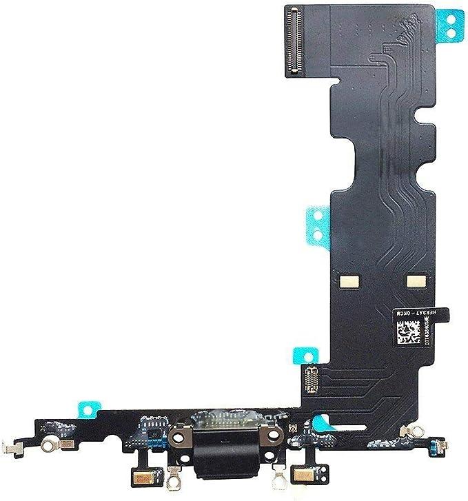 XcellentFixParts Reemplazo Charging Dock USB Port para iPhone 8 Plus (Negro) Micrófono Jack de Audio Auricular Antena Conector de Altavoz Conjunto de ...
