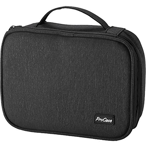 ProCase Electronics Travel Organizer Storage Bag, Double Layer Universal Traveling Gear Accessories Carrying Cover Pouch for iPad Mini Cables Phone Chargers Adapter Flash Hard Drive and More -Black