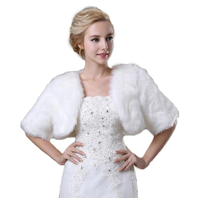 Para mujer Plus tamaño piel sintética chal abrigos para novia boda vestido de fiesta Capes