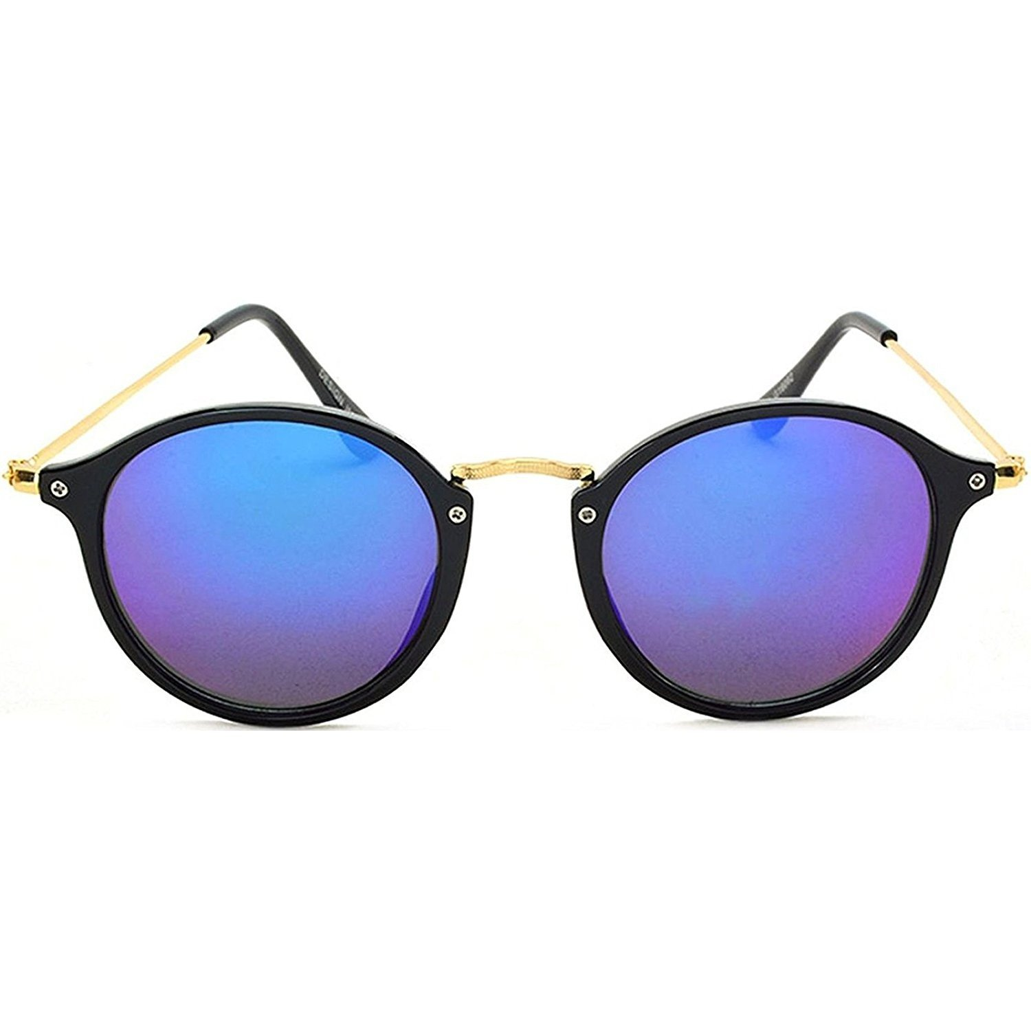 baf807eb94e Dervin Black Frame Blue Shade Lens Oval Round Sunglasses for Men   Women   Amazon.in  Clothing   Accessories