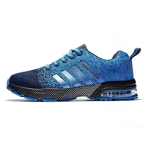 d85b1ad59eec Fexkean Chaussures de Sport Running Baskets Mode Entraînement Respirant  Chaussures Homme Femme Noir Bleu Gris(