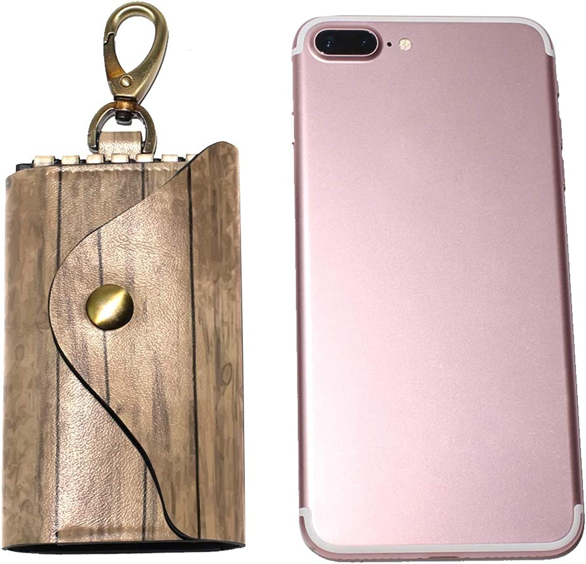 KEAKIA Old Wooden Floor Leather Key Case Wallets Tri-fold Key Holder Keychains with 6 Hooks 2 Slot Snap Closure for Men Women