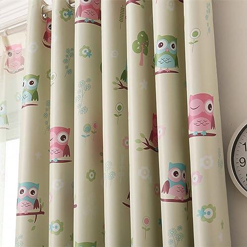 Children Kids Cartoon Print Owl Blackout Top Silver Grommets Curtain Two PanelsCream 541082