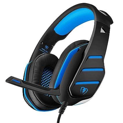 Auriculares Gaming Premium Stereo con Microfono para PS4 PC Xbox One, Cascos Gaming con Bass