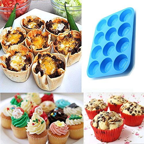 12-Cup Silicone Muffin Pans Set of 3, Silicone Cupcake Baking Pans, Non-Stick Silicone Molds for Muffin Tins, Cakes. (Red, Orange, Blue) by WedFeir (Image #3)