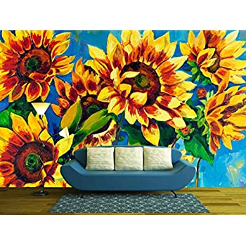 Original Oil Painting of Sunflowers on Canvas.Modern