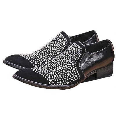 817b2aef49c 2 Color US Size 5-12 Rhinestone Leather Mens Slip On Designer Dress Loafer  Shoes