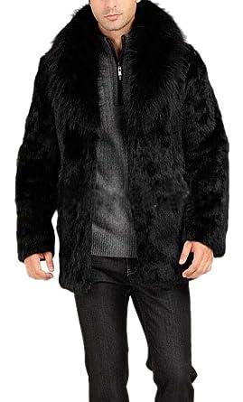 3b69b9c65 Hochock Men's Luxury Faux Fur Rabbit Fur Jacket Coat Outerwear at ...