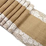Upower Burlap Lace Hessian Table Runner, Rustic Natural Jute Country Wedding Party Bridal Shower Babe Shower Dining Table Decoration 12x108 inches