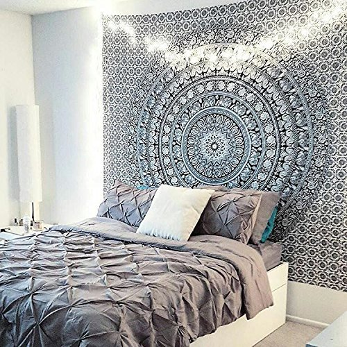 Tapestry Black and White Hippie Elephant Mandala Tapestry Double Indian Traditional Beach Throw Queen Wall Art College Dorm Bohemian Wall Hanging Boho Bedspread tapestries 92 x 82 (Black &White)