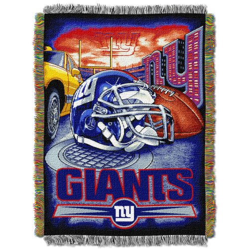 The Northwest Company Officially Licensed NFL New York Giants Home Field Advantage Woven Tapestry Throw Blanket, 48