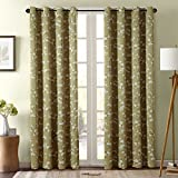Country Style Curtains H.Versailtex Country Style Printed Natural Blackout Window Treatment Curtains - 2 Panels (Grommet Drapes, 52 by 96 - Inch, White Sakura on Taupe Base)