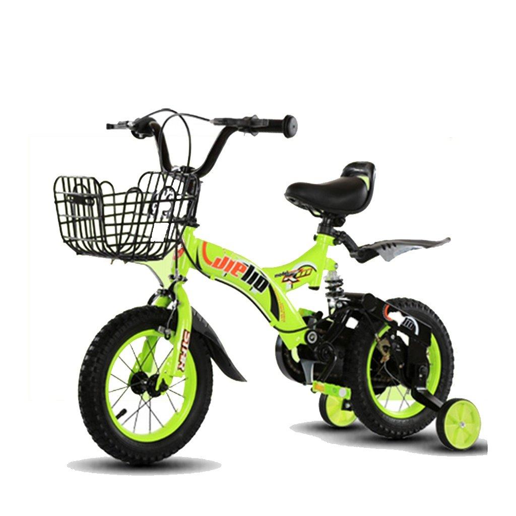 美しい 家チャイルドフォールド自転車3-6-8歳のベビーベビーカー12インチ14インチ16インチバイク (色 : 緑, サイズ さいず : 18Inch) B07CY3FK8X緑 18Inch