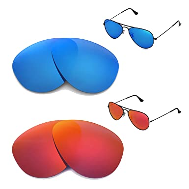 a12d1a3419 Image Unavailable. Image not available for. Color  Walleva Polarized Fire  Red+Ice Blue Lenses For Ray-Ban Aviator Large ...