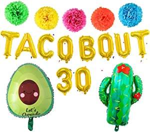 MoonVila Taco Bout 30 Balloons, Cactus Avocado Fiesta Balloons, Tissue Pom Paper Flowers for Cinco De Mayo, Mexican Theme Fiesta 30th Birthday Decorations
