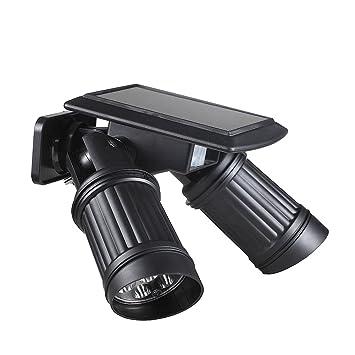 Luz solar de doble cabeza Impermeable 14 pcs LED luces de inducción inalámbrico Detector IPR del