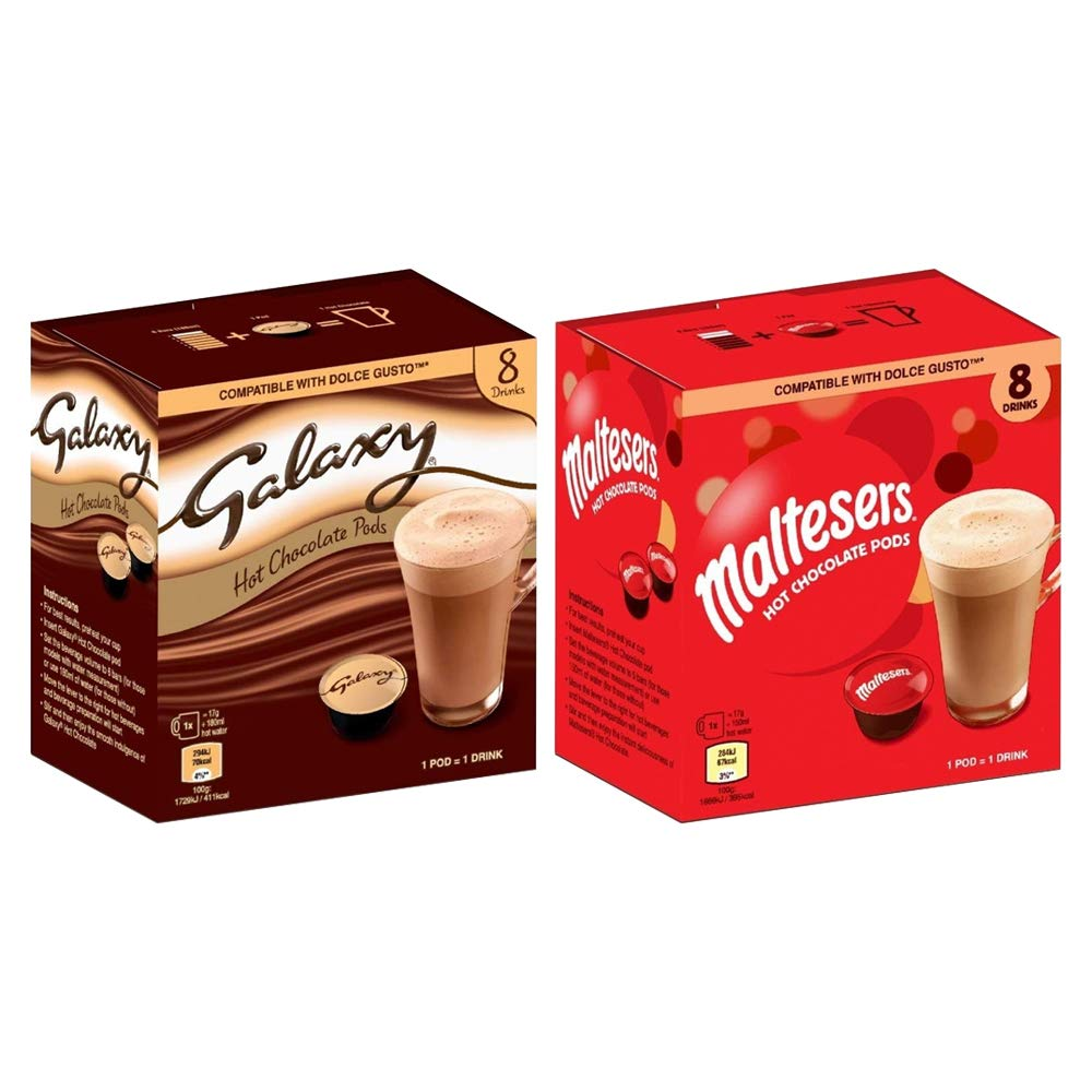 Dolce Gusto Compatible Mars Branded Hot Chocolate Pods 8s Galaxy 2 Boxes 16 Drinks