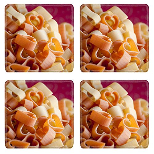 Liili Square Coasters IMAGE ID 12123987 Heart shaped noodles for Valentine s Day