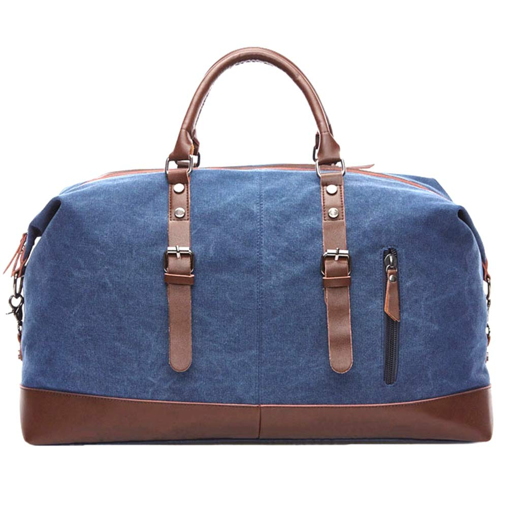 Classic Canvas Leather Duffel Bag Weekender Overnight Bag Carry on Travel Tote (Large-Blue)